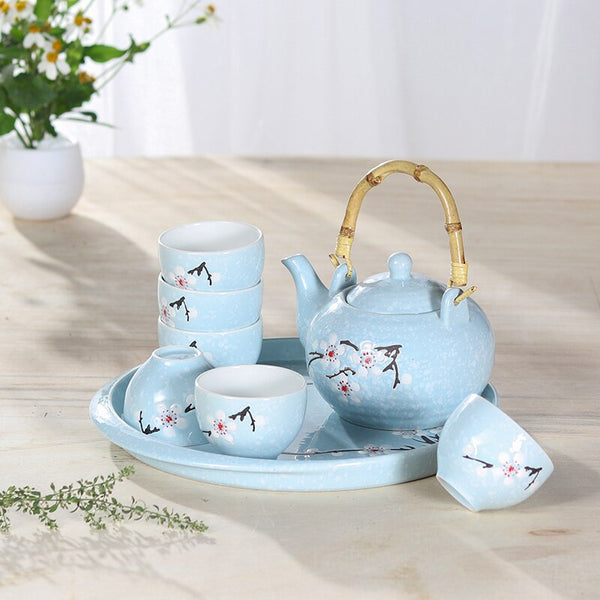 Japanese Light Blue Sakura Cherry Blossom Tea Set Ceramic teapot tea pot cup plate tray Pu'er oolong tea ceremony sets kungfu Japan household gift teaware