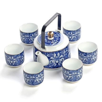 Japanese tea set gift box high-grade blue and white jade porcelain Japan Creative pottery Kung Fu tea pottery