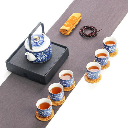 Trendy Japanese tea set gift box high-grade blue and white jade porcelain Japan Creative pottery Kung Fu tea pottery