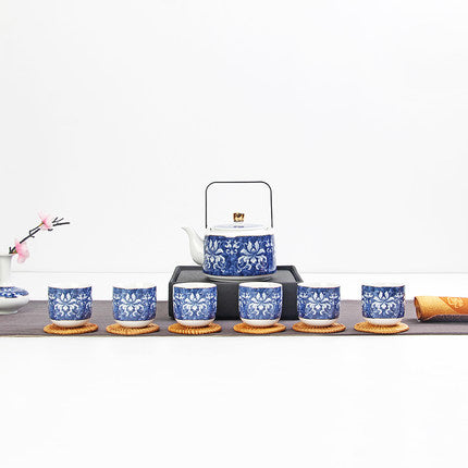 Trending Japanese tea set gift box high-grade blue and white jade porcelain Japan Creative pottery Kung Fu tea pottery