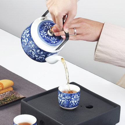 Trend Japanese tea set gift box high-grade blue and white jade porcelain Japan Creative pottery Kung Fu tea pottery