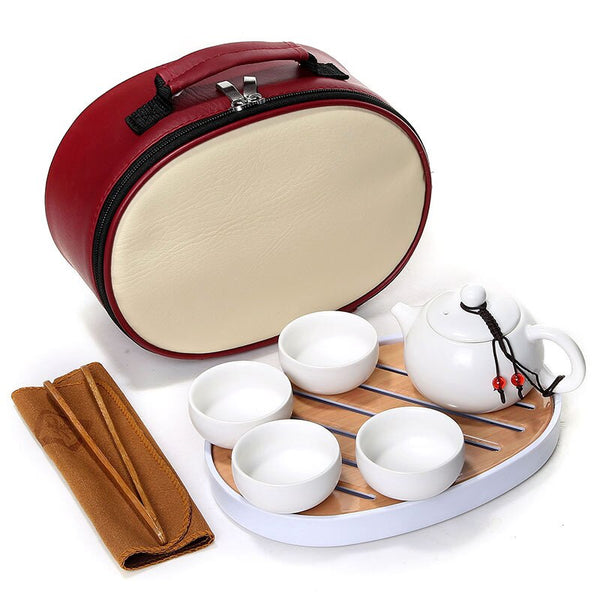 Japanese Portable Chinese Kung Fu Tea Set Creative Outdoor Travel tea set [1 Teapot + 4 Cups] with Tea Tray Travel Bag Japan White Ceramic Tea-sets