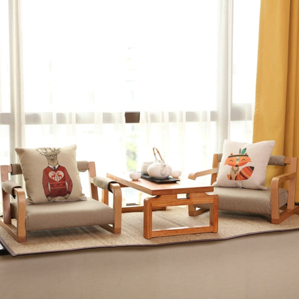 Japanese Asia Style Furniture Balcony Living Room Low Floor Rectangular Solid Wooden Chair Living Room Tea Coffee Table  Japan Home Decor Furnishing