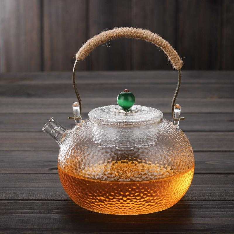 Trendy 600ml Japanese Heat-resistant Glass Hand-hammer Harp Teapot Kettle Stove Brewing Tea Water Kettle Kung Fu Teapot Japan Drinkware