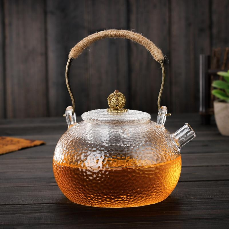 Trending 600ml Japanese Heat-resistant Glass Hand-hammer Harp Teapot Kettle Stove Brewing Tea Water Kettle Kung Fu Teapot Japan Drinkware
