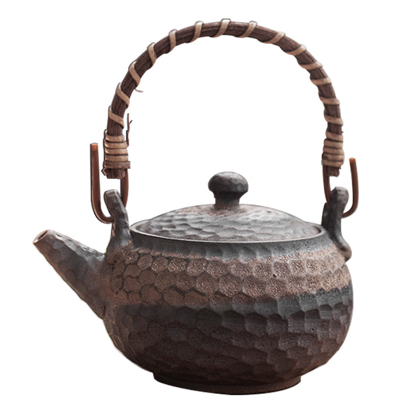200ml / 250ml Japanese Ceramic Teapot Kettle Handmade Retro Coarse Pottery Rust Glaze Candle Heater Tea Warmer Kung Fu Japan Tea Set Accessories