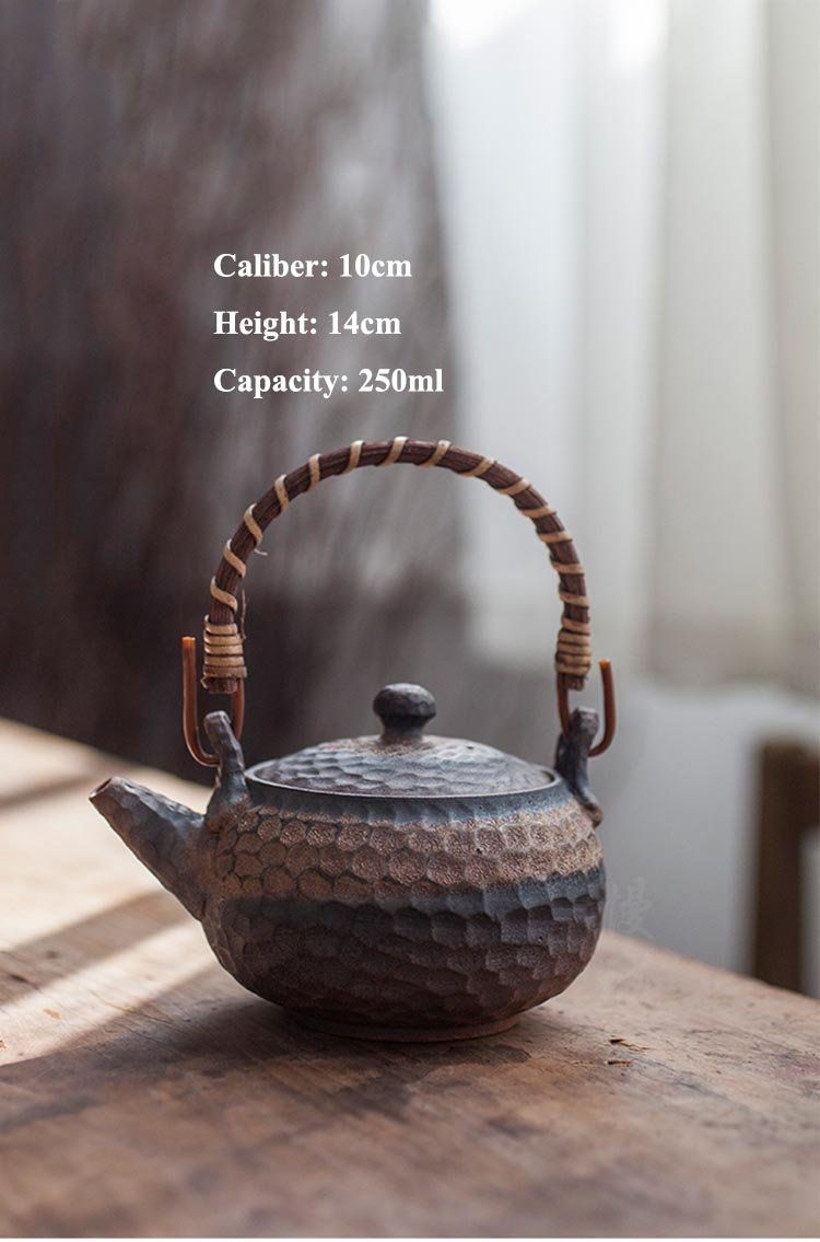200ml / 250ml Japanese Ceramic Teapot Kettle Handmade Retro Coarse Pottery Rust Glaze Candle Heater Tea Warmer Kung Fu Japan Tea Set Accessories Size Chart