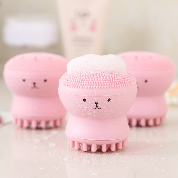 Baby Bath Brushes Child Face Pink Exfoliating Facial Cleaning Brush Babies Shower Bathing Silica Gel Pad Body Scrub Bath Accessories