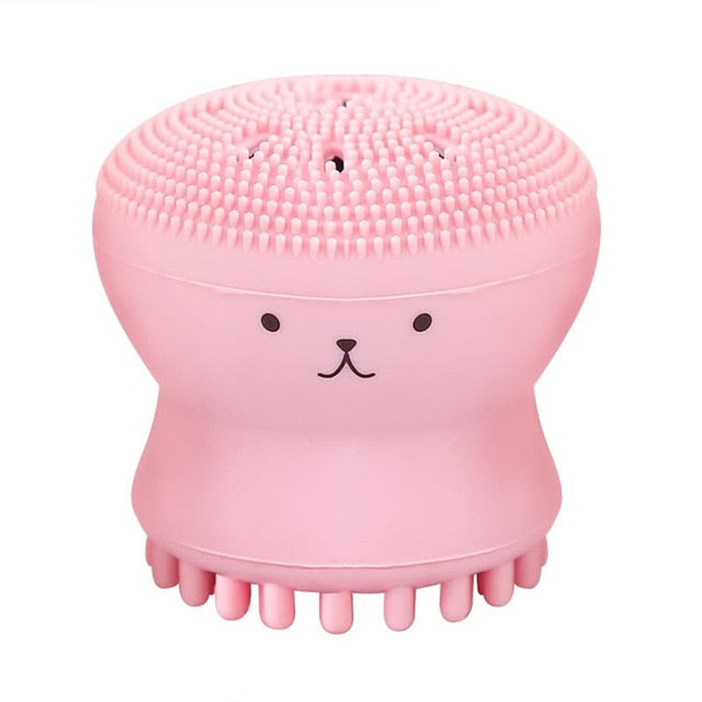Baby Bath Brushes Child Face Pink Exfoliating Facial Cleaning Brush Babies Shower Bathing Silica Gel Pad Body Scrub Bath Accessories Details
