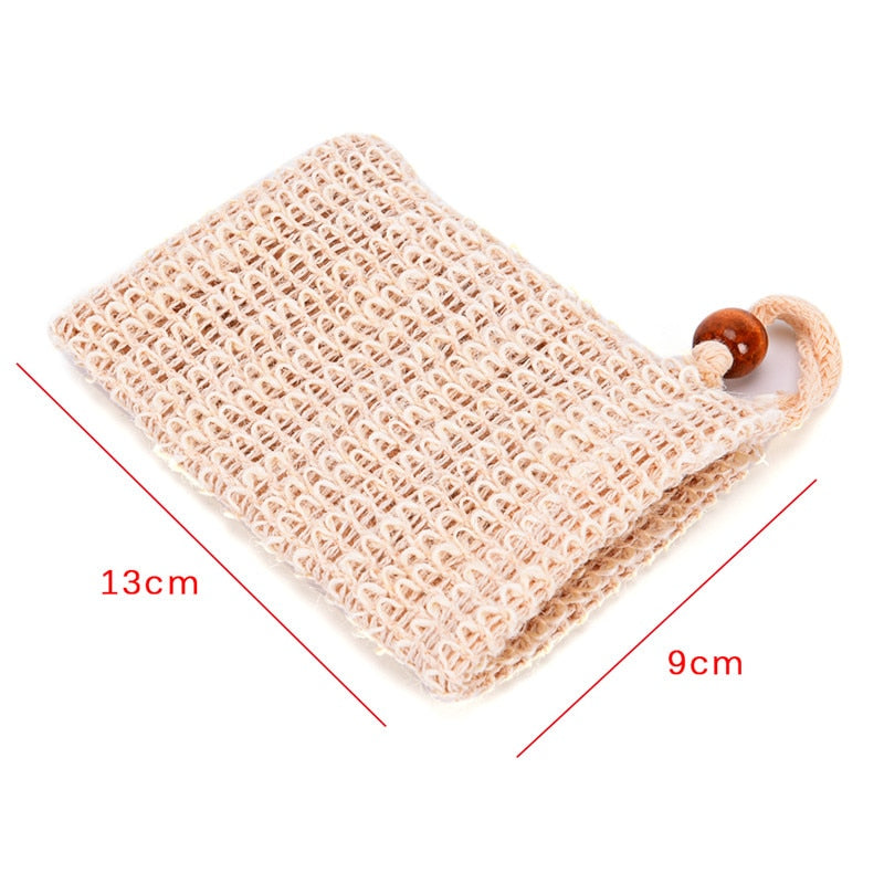 1 Piece Foaming Net Soap Saver Bag Practical Natural Ramie Shower Exfoliator Sponge Pouch Comfortable Blister Mesh Bath Accessories Size Chart