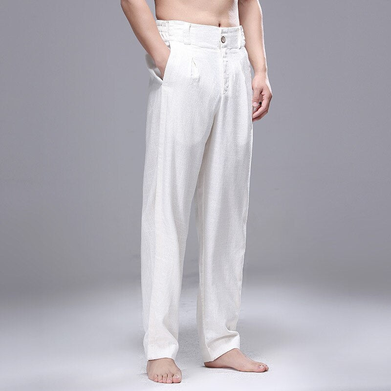 Men Japanese Thin White Cotton Linen Pants Straight Casual Loose Joggers Full Length Japan Streetwear