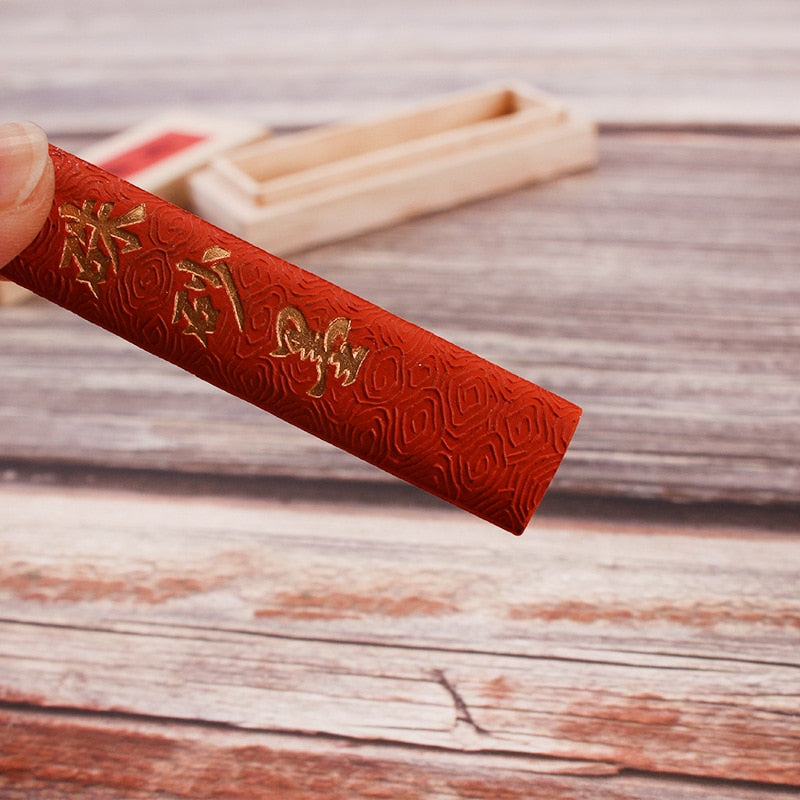Trendy 1 Piece 50g Red Color Chinese Japanese Calligraphy Sumi-E Ink Painting Ink Stick for Calligraphy Brushes Office School Supplies