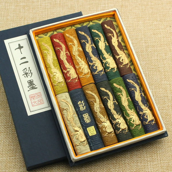 Colored Hui Ink Stick Chinese Painting Colored Ink Block Set Painting Calligraphy Writing Inker Ink stone Watercolor Solid Ink