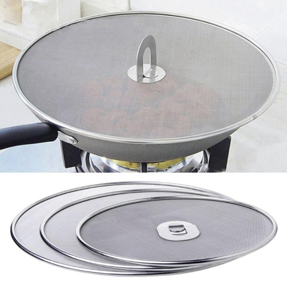 Frying Pan Cover Splatter Screen Oil Proofing Lid Filter Foldable Handle Kitchen Accessories