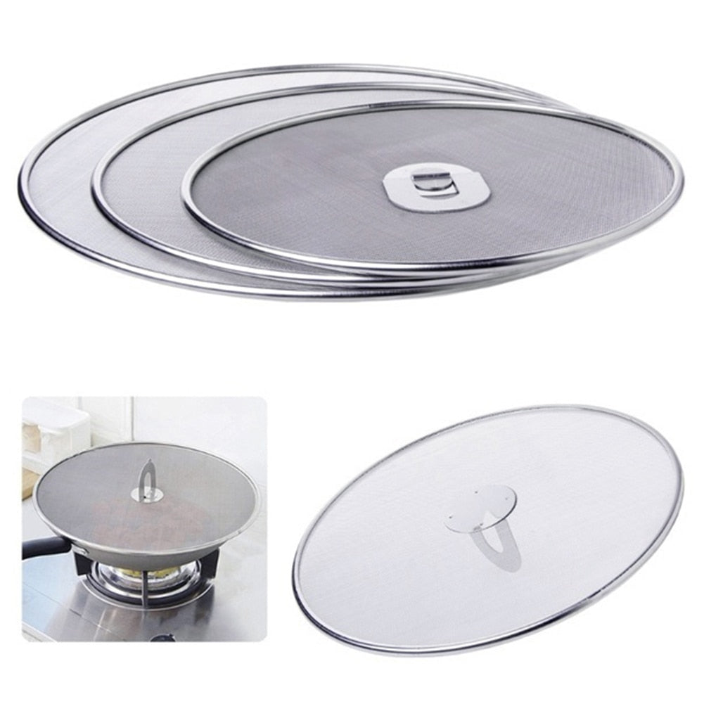 Trendy Frying Pan Cover Splatter Screen Oil Proofing Lid Filter Foldable Handle Kitchen Accessories Detail