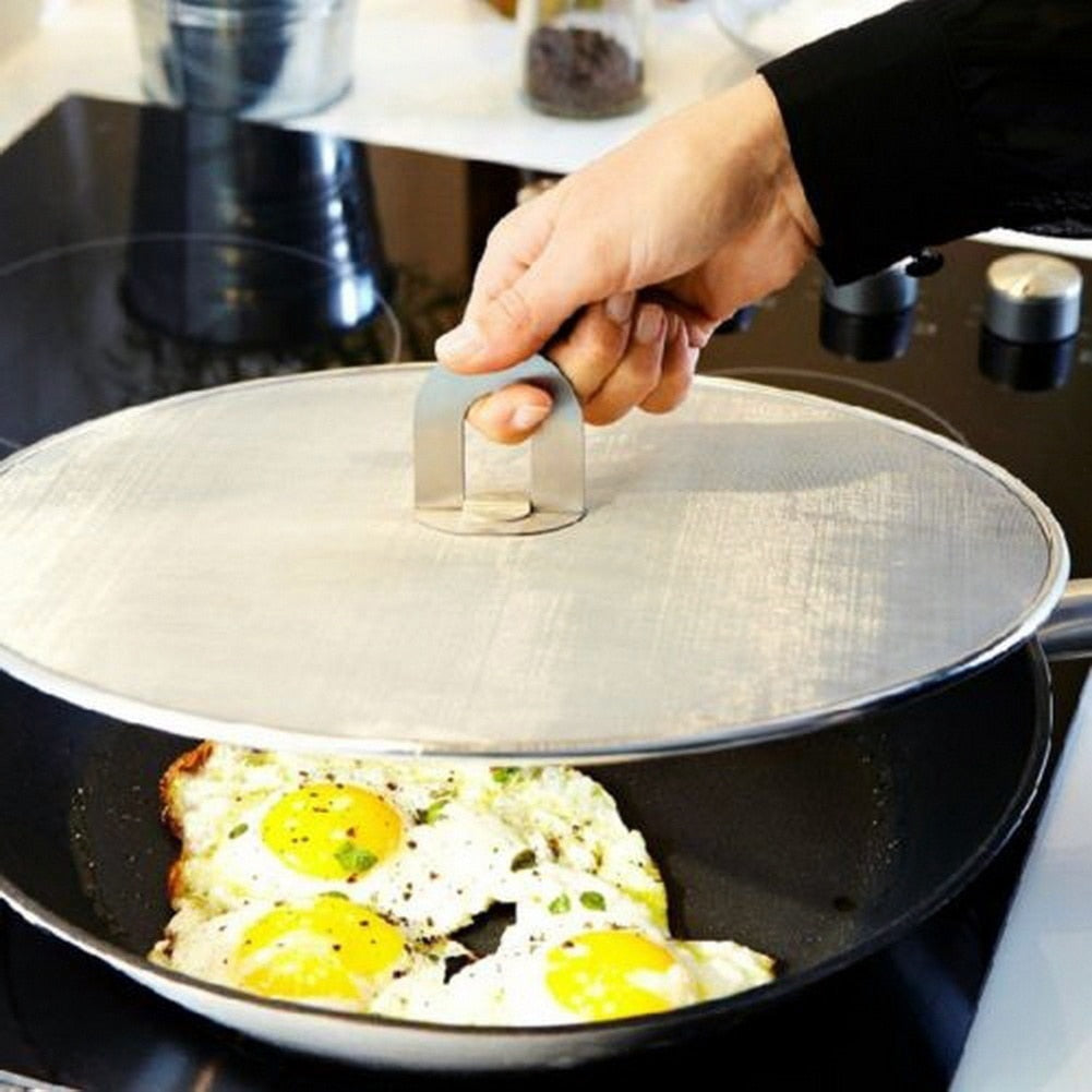 Trendy Frying Pan Cover Splatter Screen Oil Proofing Lid Filter Foldable Handle Kitchen Accessories
