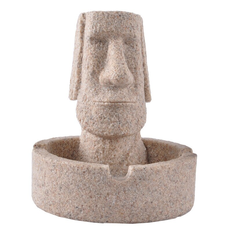 Easter Island Sandstone Ashtray Decoration for table Gift Room Creative Crafts Figurines