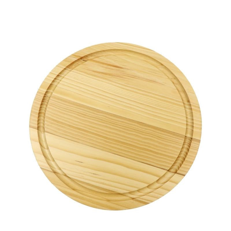 Pine Wood Cutting Board with Juice Groove Solid wooden round chopping block cheese boards
