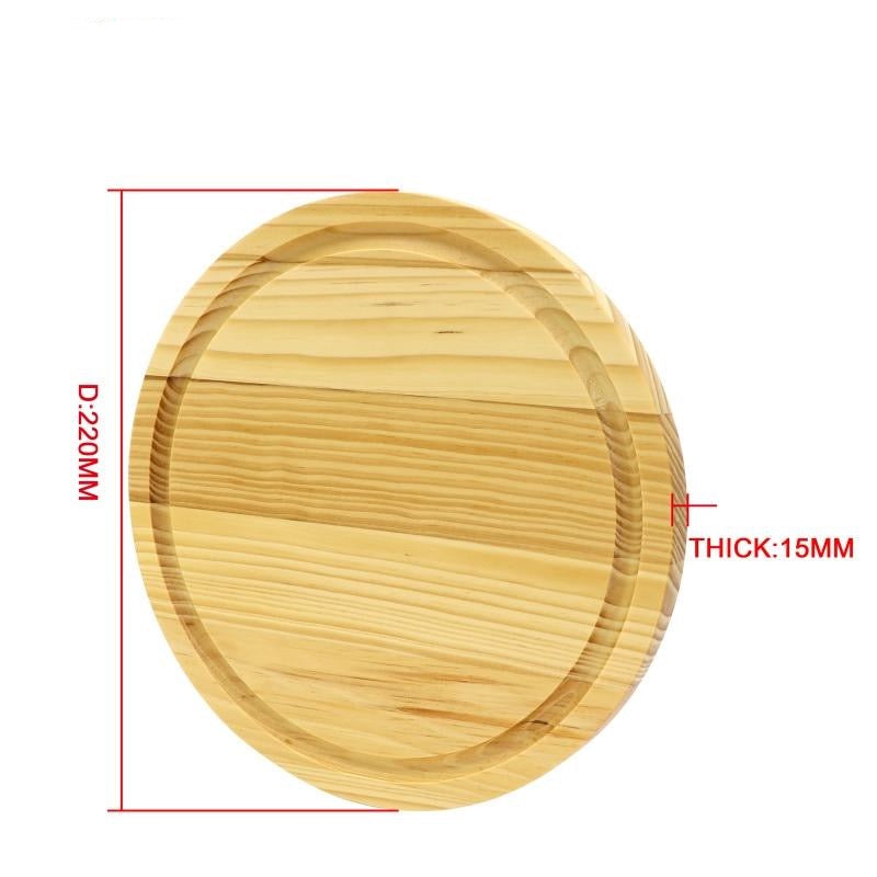 Pine Wood Cutting Board with Juice Groove Solid wooden round chopping block cheese boards Size Chart
