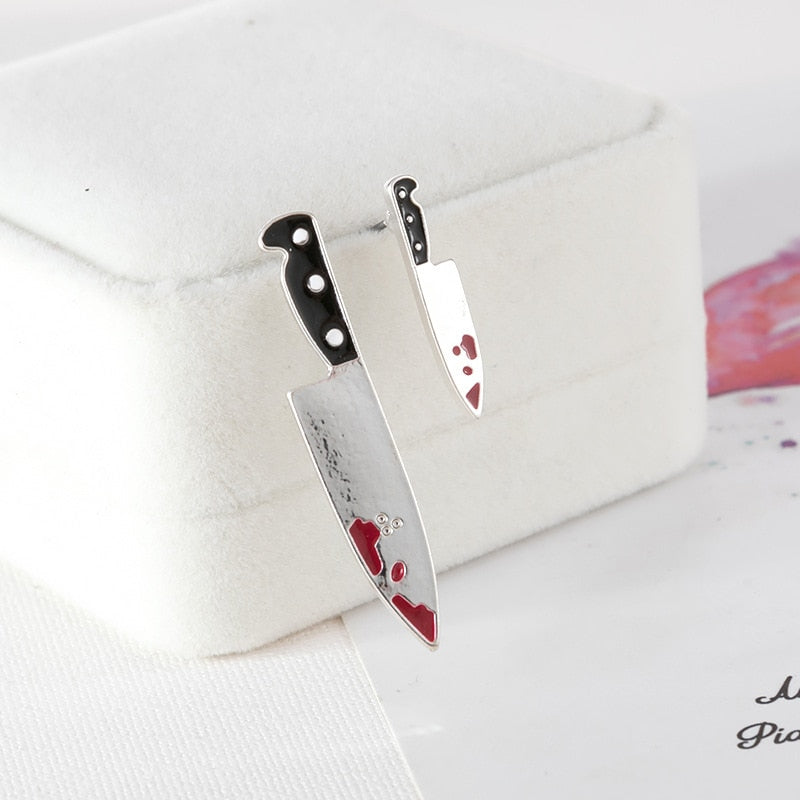 Cute Japanese Knife Blood Stud Earring Harajuku Personality Punk Rock Japan Fashion Jewelry Gift Trending