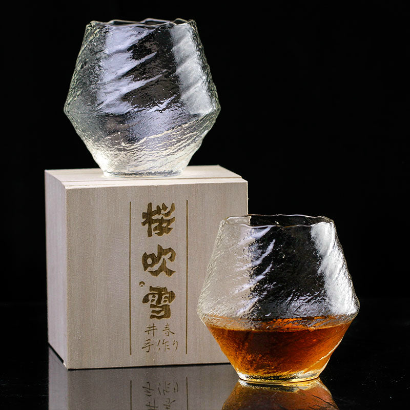 Japanese EDO Crystal Blowing Snow Artwork Whiskey Glass Wood Gift Box Niche Liquor XO Neat Whisky Cognac Brandy Snifter Glasses Japan Glassware Drinkware