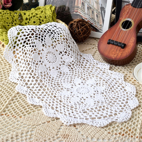 Lace oval cotton crochet placemat cup mug tea coffee coaster kitchen dining table place mat doily wedding drink glass pad