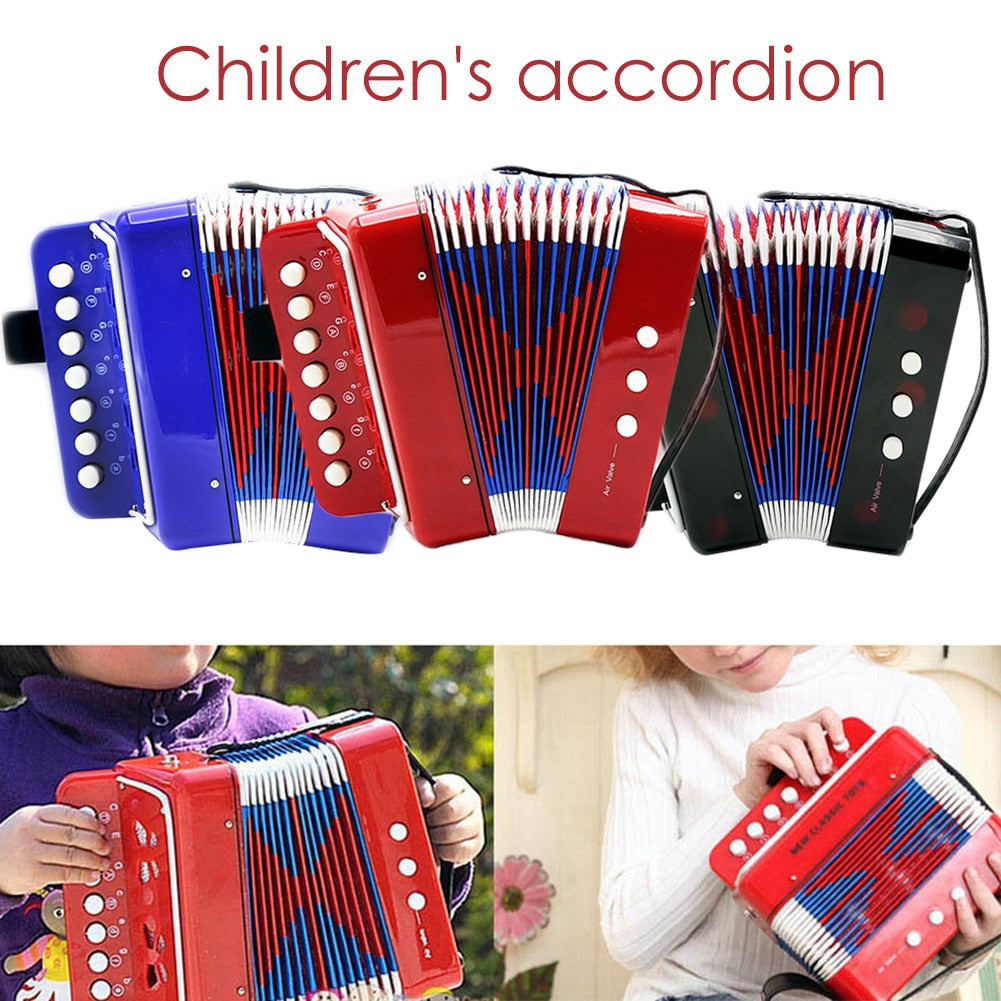 Mini Small Accordion 17-Key 8 Bass Educational Musical Instrument Rhythm Band Toy for Kids Children Gift Trendy