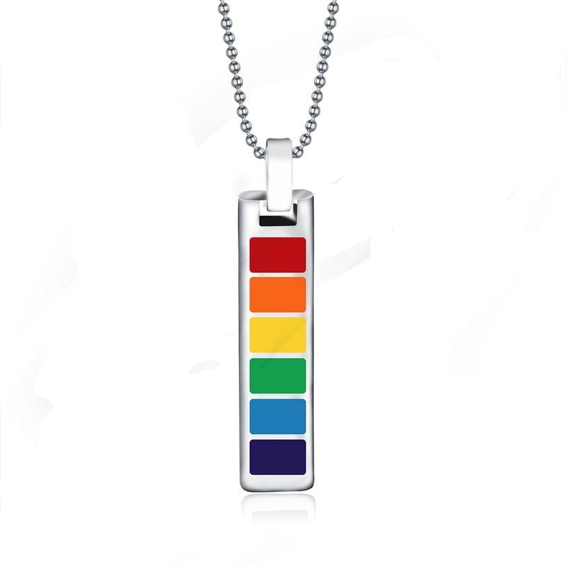 Rainbow Dog Tag Jewelry Stainless Steel Gay and Lesbian Pride Pendant Necklace Fashion Jewellery