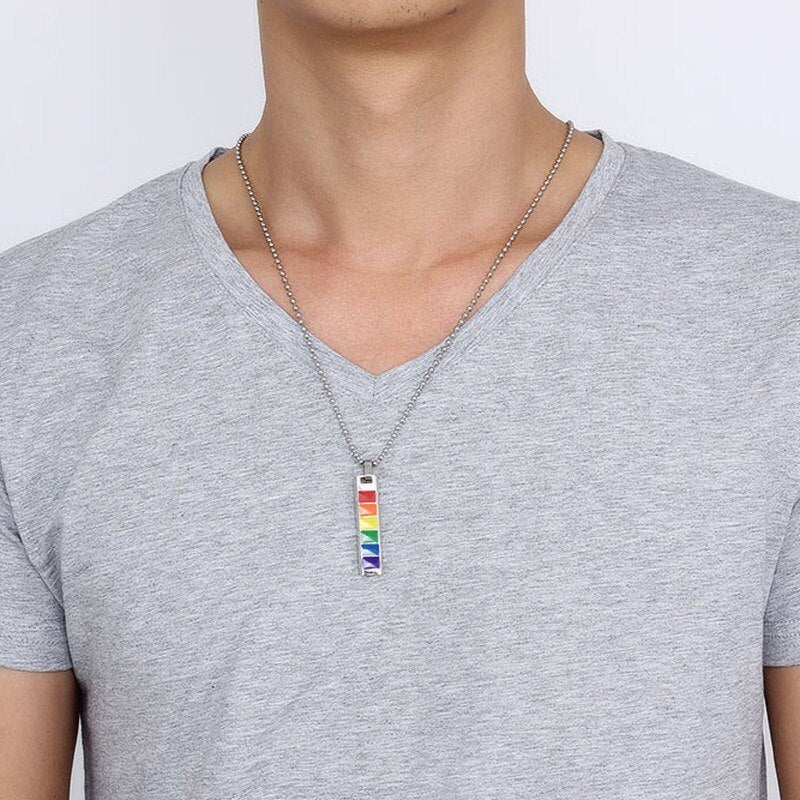 Rainbow Dog Tag Jewelry Stainless Steel Gay and Lesbian Pride Pendant Necklace Fashion Jewellery Trendy