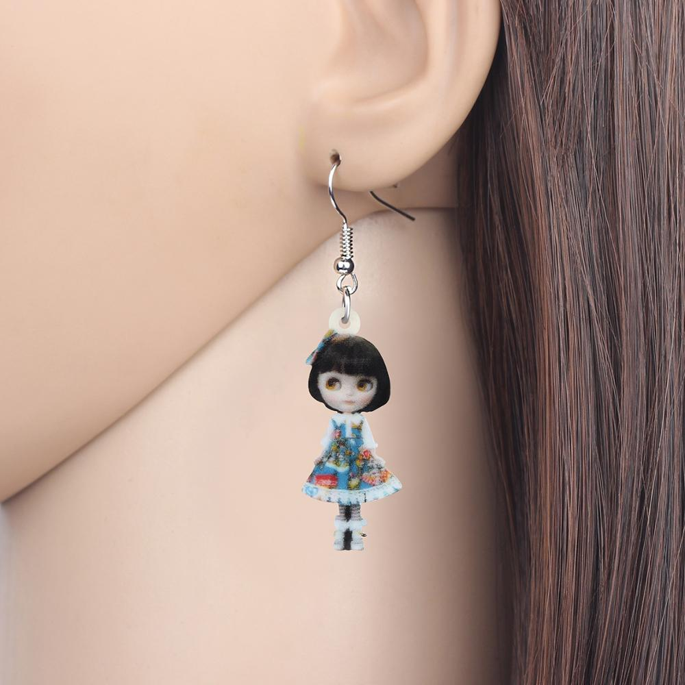Acrylic Anime Lolita Japanese Girl Doll Earrings Drop Dangle Jewelry Gift Trendy