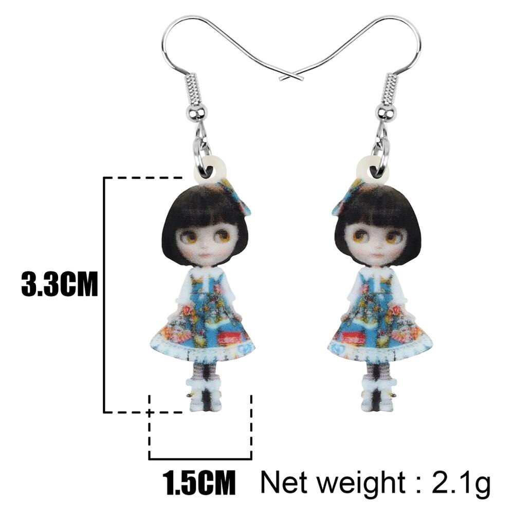 Acrylic Anime Lolita Japanese Girl Doll Earrings Drop Dangle Jewelry Gift Size Chart