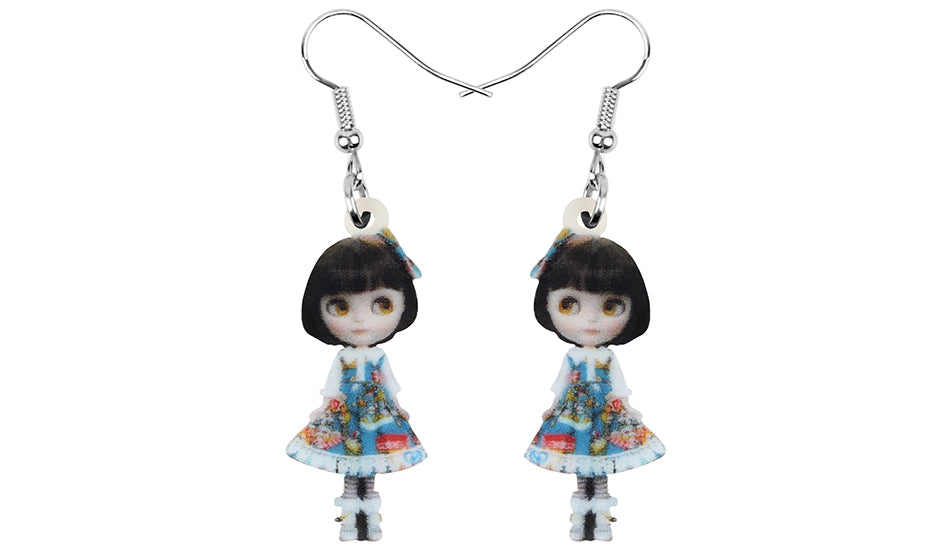Acrylic Anime Lolita Japanese Girl Doll Earrings Drop Dangle Jewelry Gift Trending
