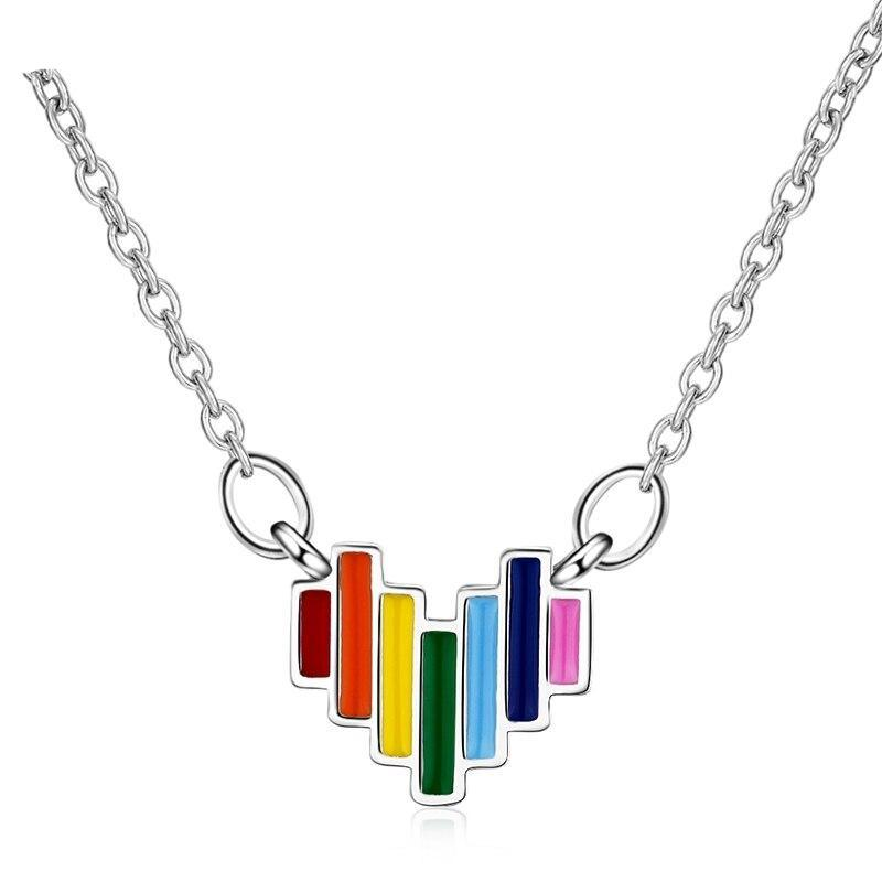 925 Sterling Silver Delicate Rainbow Pendant Necklace Jewelry Gift Colorful Heart Necklaces