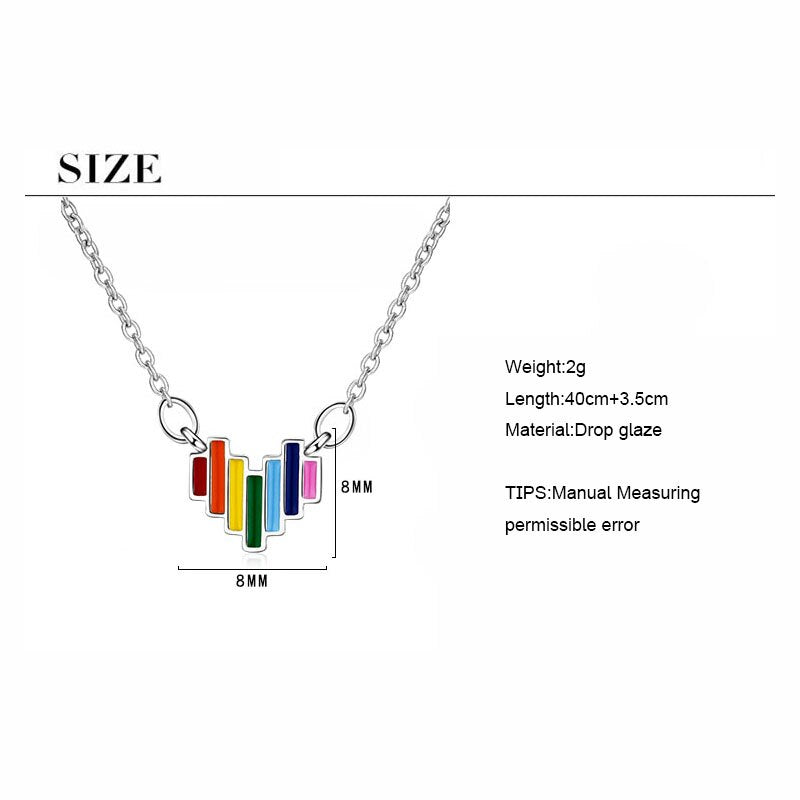 925 Sterling Silver Delicate Rainbow Pendant Necklace Jewelry Gift Colorful Heart Necklaces Size Chart