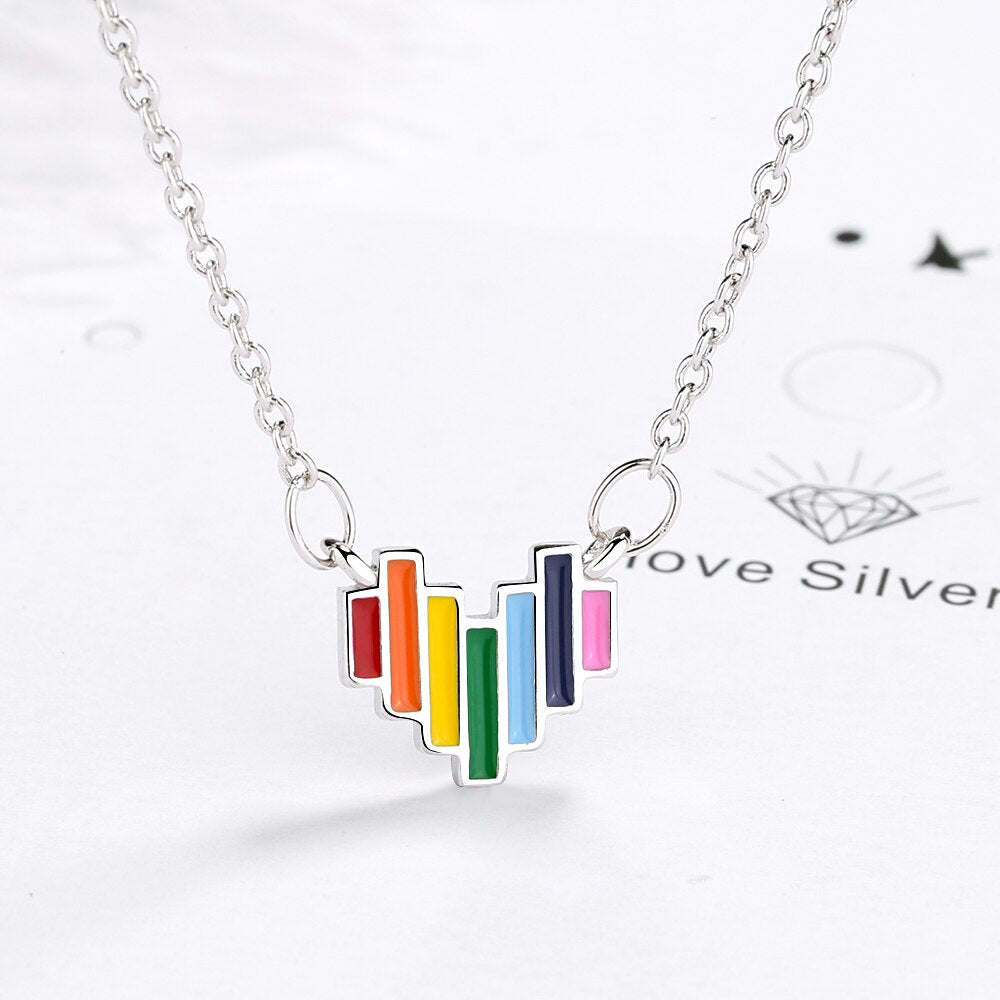 925 Sterling Silver Delicate Rainbow Pendant Necklace Jewelry Gift Colorful Heart Necklaces Trendy Style