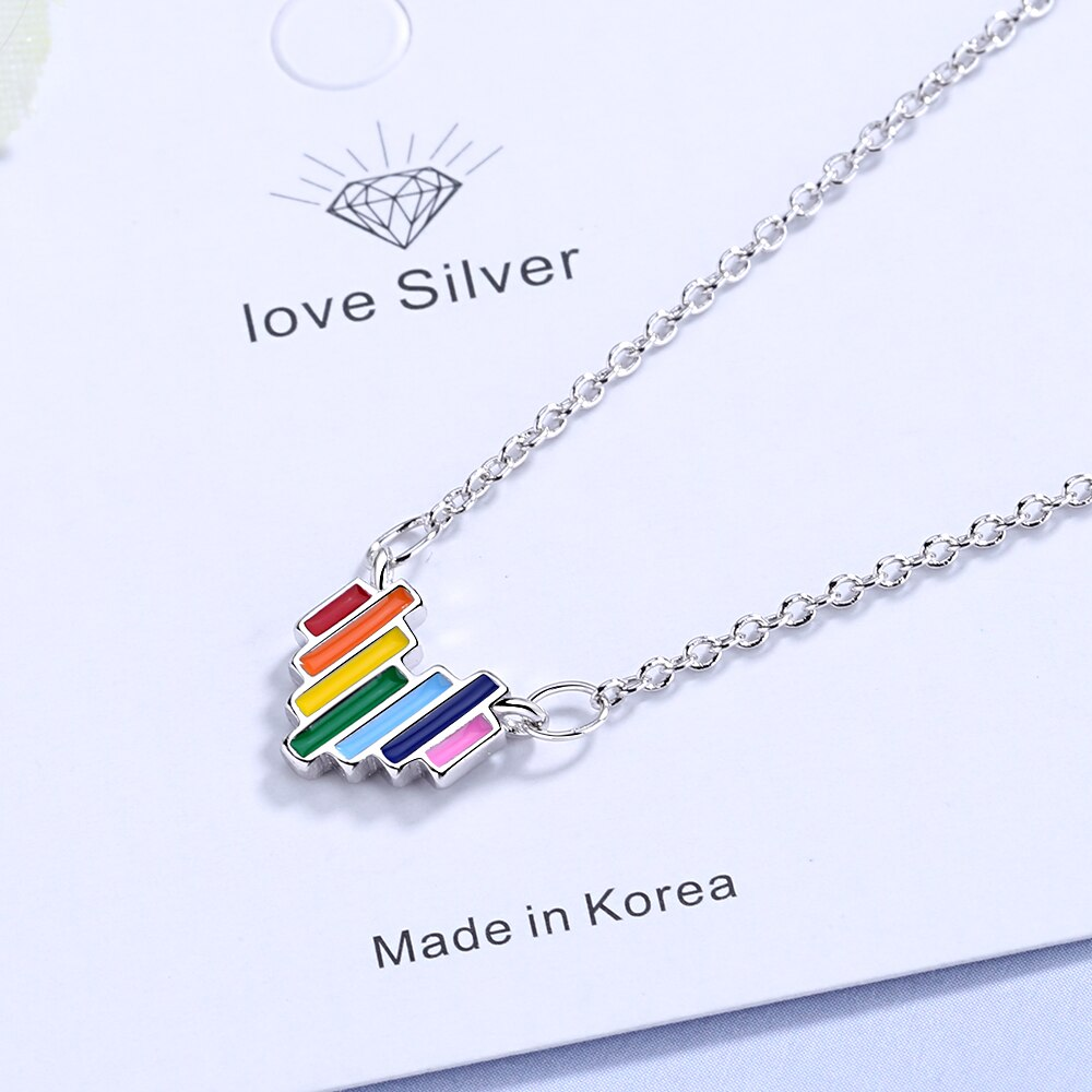 925 Sterling Silver Delicate Rainbow Pendant Necklace Jewelry Gift Colorful Heart Necklaces Style
