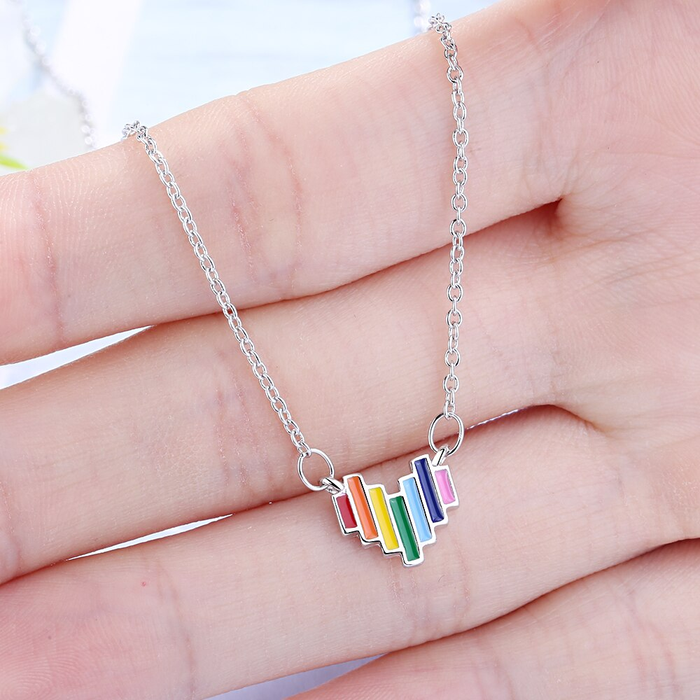 925 Sterling Silver Delicate Rainbow Pendant Necklace Jewelry Gift Colorful Heart Necklaces Trendy