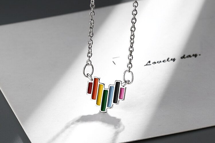 Sterling Silver Rainbow Heart Necklace