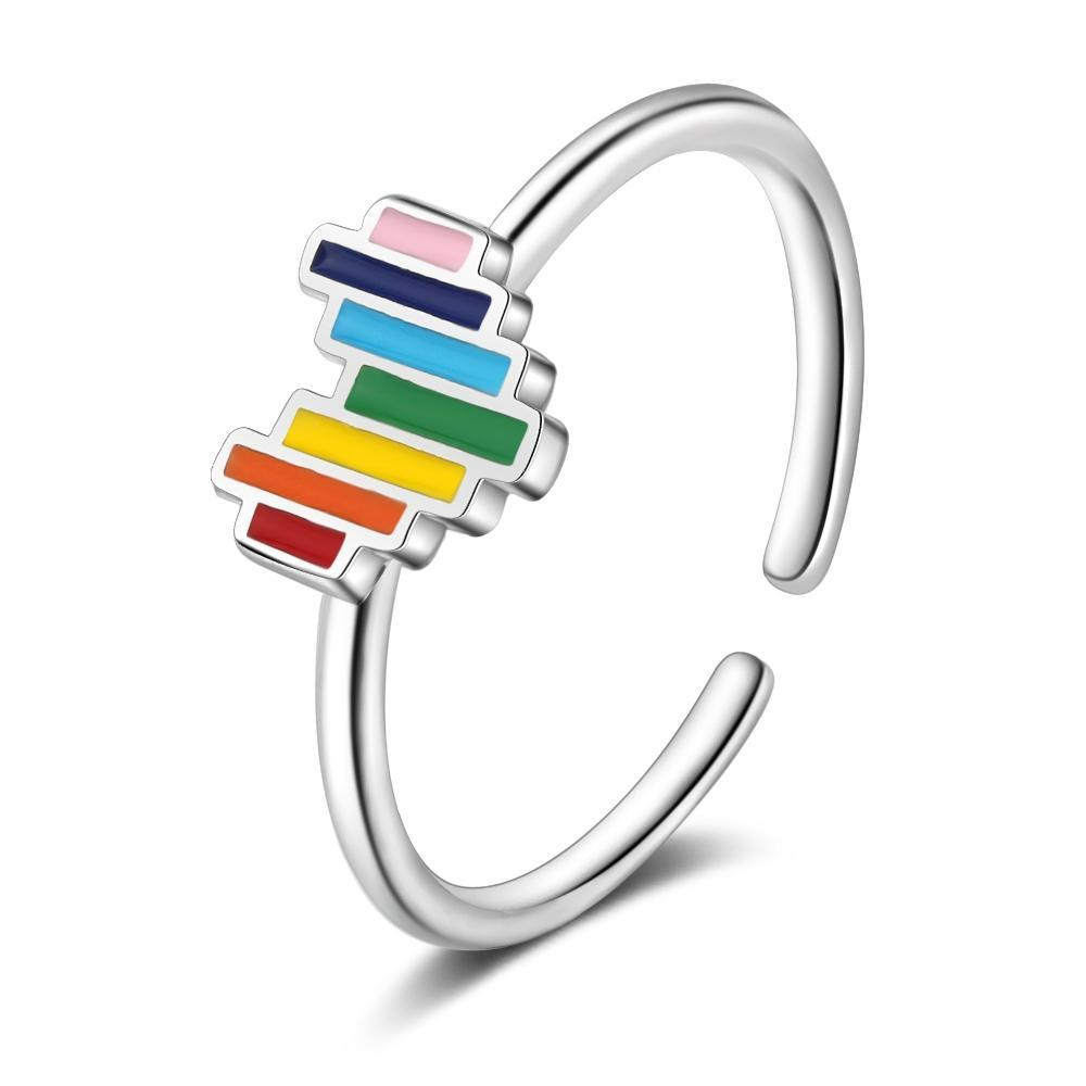 Lovely Rainbow Heart Open Ring 925 Sterling Silver Open Size Finger Rings Fashion Jewelry
