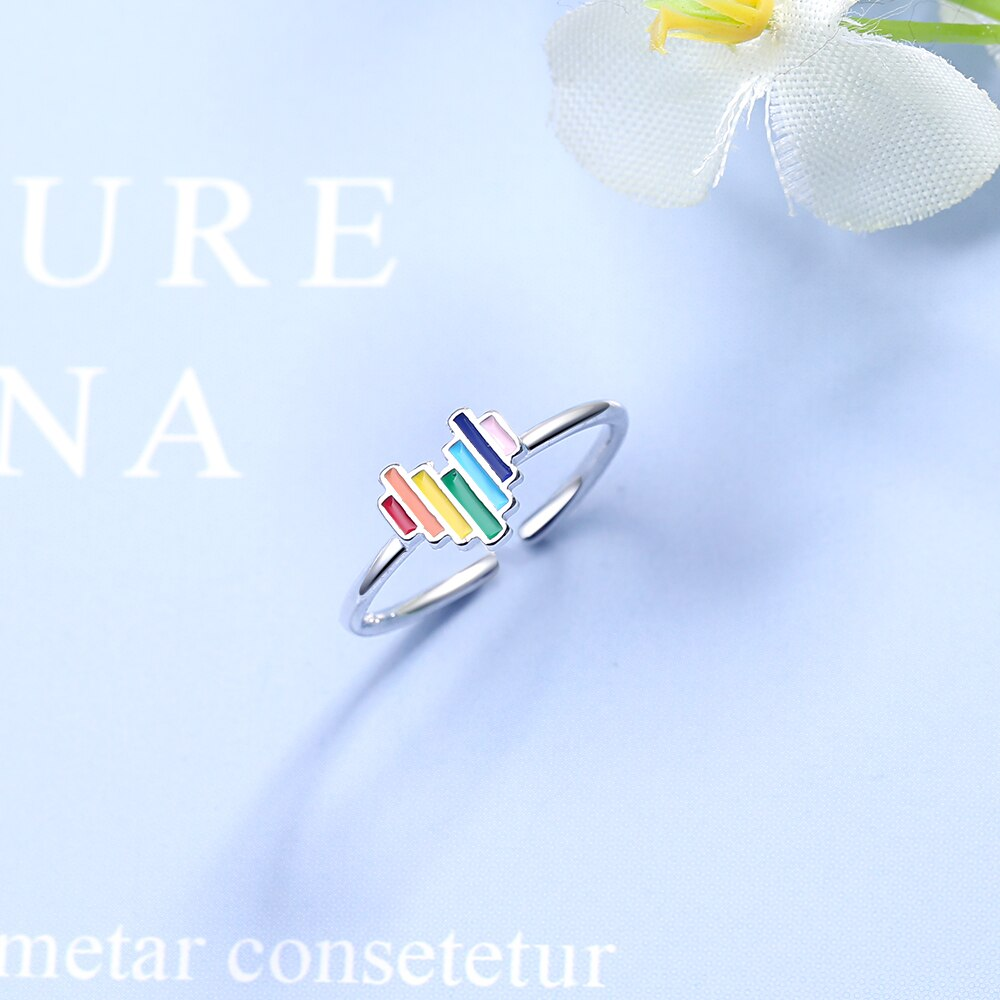 Lovely Rainbow Heart Open Ring 925 Sterling Silver Open Size Finger Rings Fashion Jewelry Style