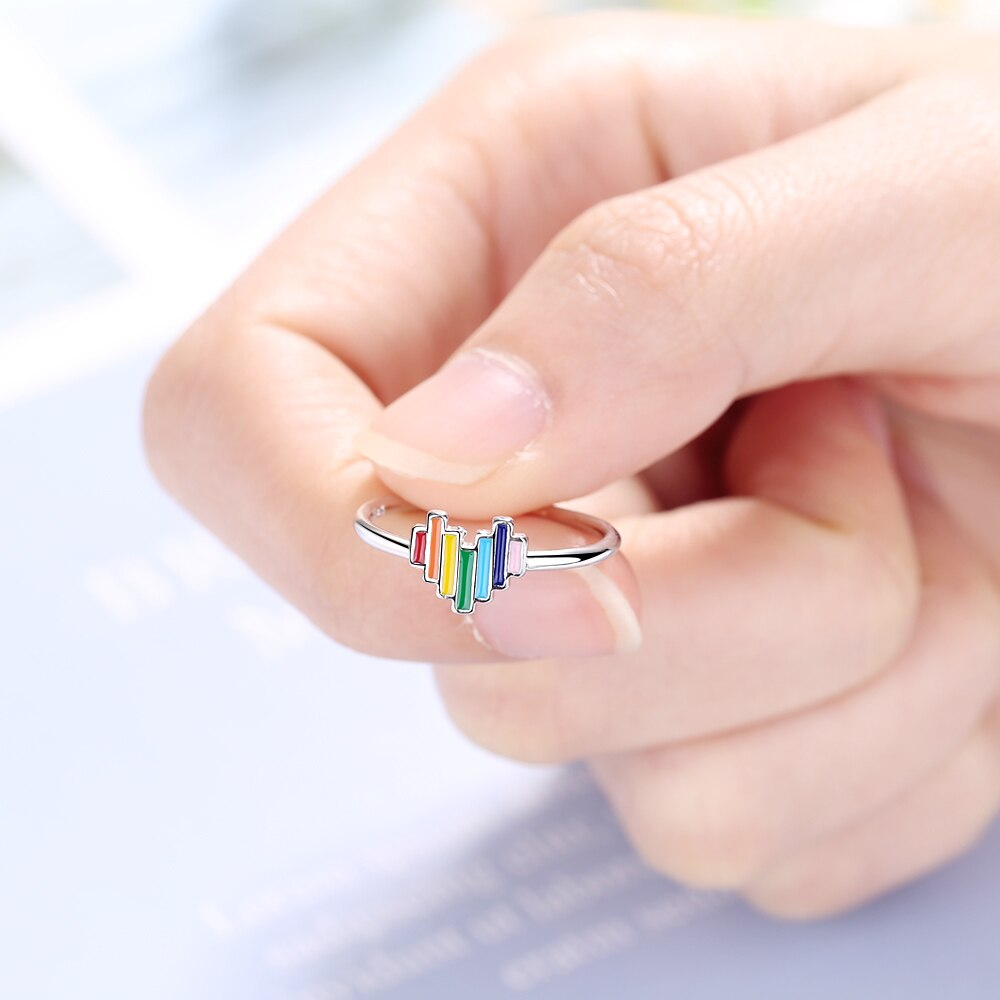Lovely Rainbow Heart Open Ring 925 Sterling Silver Open Size Finger Rings Fashion Jewelry Trending Style