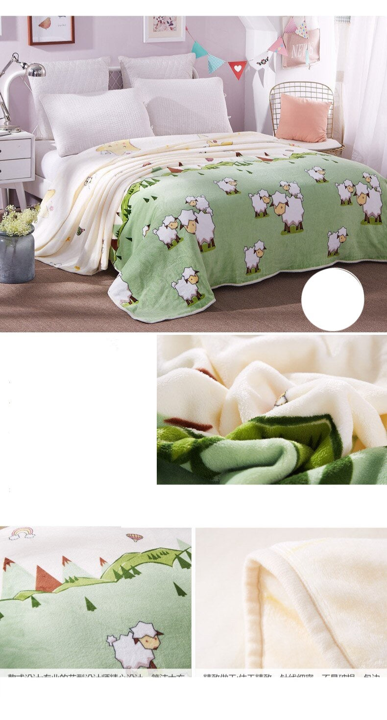 Soft Warm Sheep Characters Blanket Throw Plush Thick Fleece Blankets for Sofa Bed Bedroom Home Decor Furnishing Detail