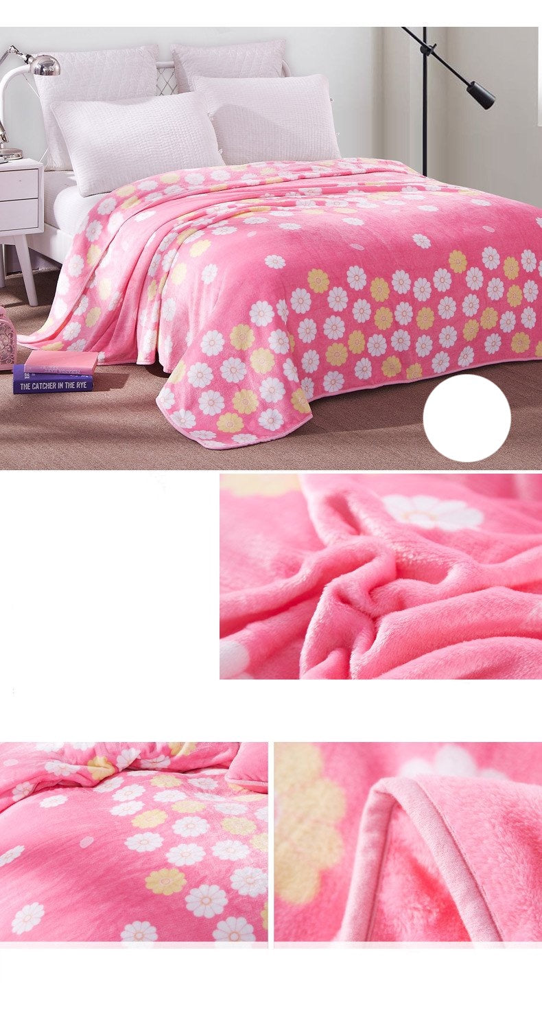Soft Warm Pink Flower Blanket Throw Plush Thick Fleece Blankets for Sofa Bed Bedroom Home Decor Furnishing Detail