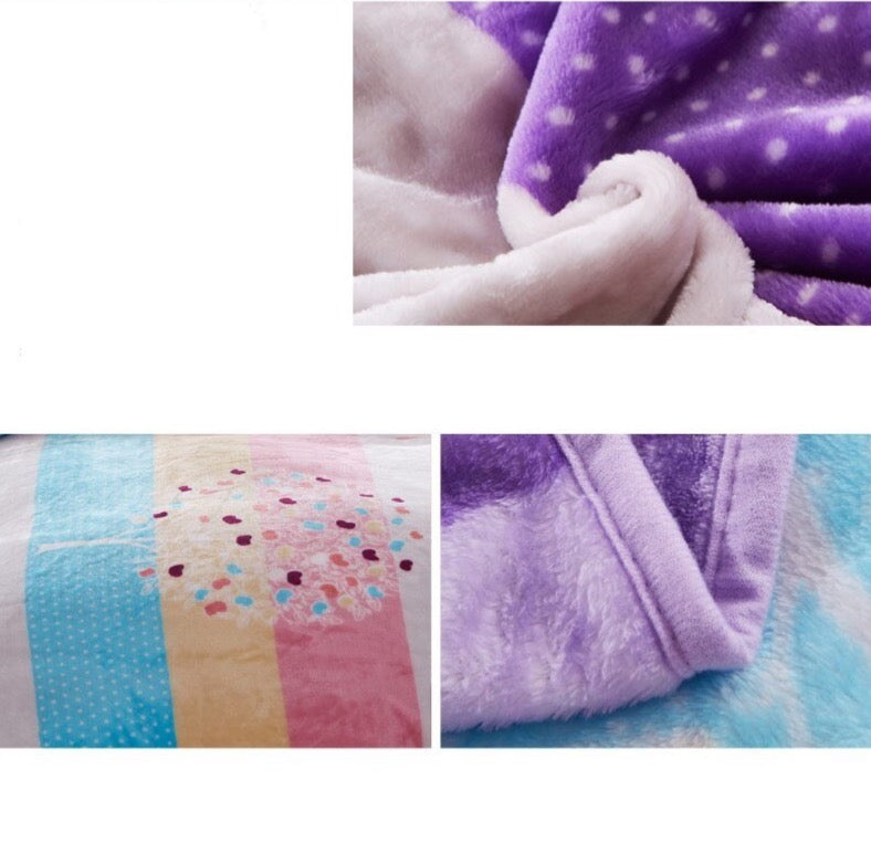 Soft Warm Rainbow Blanket Throw Plush Thick Fleece Multicolor Blankets for Sofa Bed Bedroom Multicolour Home Decor Furnishing Detail