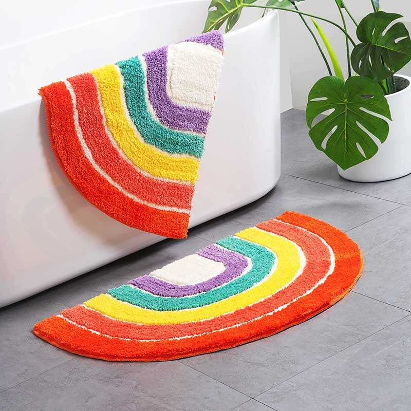 Rainbow Bathroom Rug Anti Slip Geometric Area Rug Carpet Entrance Carpets Kitchen Rugs Floor Mats Welcome Doormat Home Decor