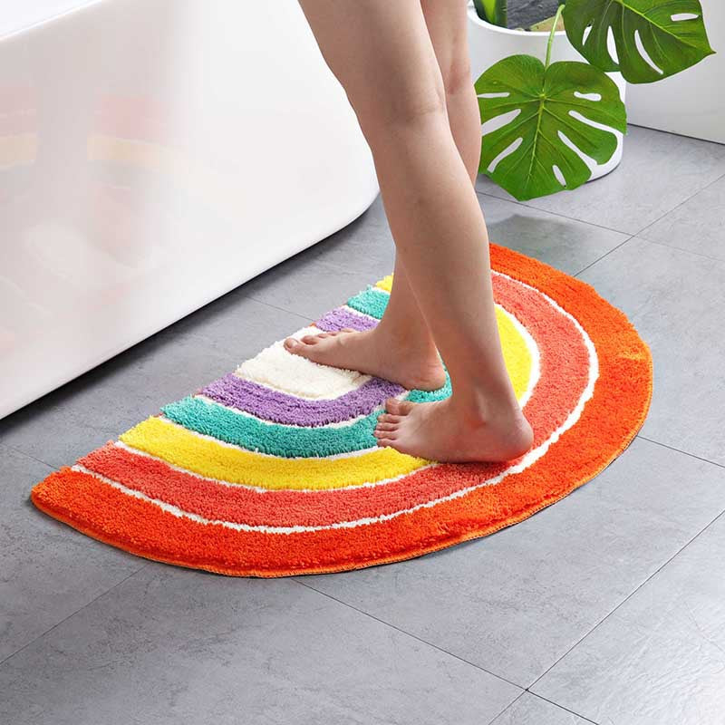 Rainbow Bathroom Rug Anti Slip Geometric Area Rug Carpet Entrance Carpets Kitchen Rugs Floor Mats Welcome Doormat Home Decor Trendy
