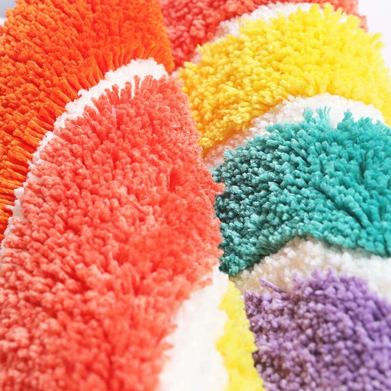 Rainbow Bathroom Rug Anti Slip Geometric Area Rug Carpet Entrance Carpets Kitchen Rugs Floor Mats Welcome Doormat Home Decor Details