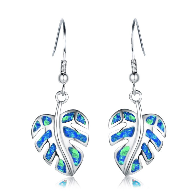 Blue Leaf Drop Earrings Jewelry Classic Fake Fire Opal Long Dangle Earrings Fashion Jewellery Trend