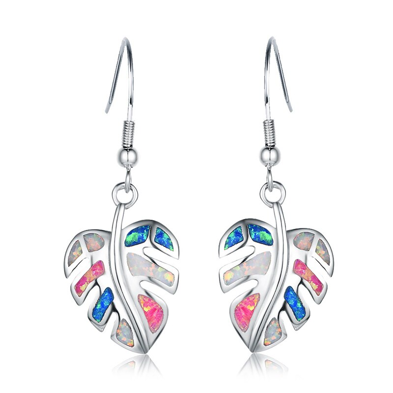 Rainbow Leaf Drop Earrings Jewelry Classic Fake Fire Opal Long Dangle Earrings Fashion Jewellery Trend Styles