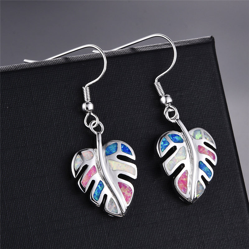 Rainbow Leaf Drop Earrings Jewelry Classic Fake Fire Opal Long Dangle Earrings Fashion Jewellery Detail